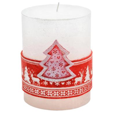 Svíčka vánoční Scandinavian stromeček červený(FS-49711S)