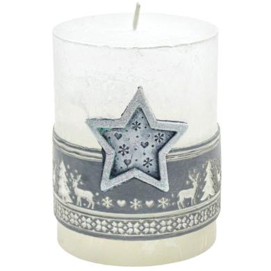 Svíčka vánoční Scandinavian hvězda stříbrná(FS-49712H)
