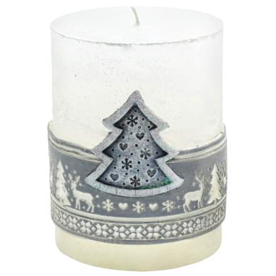 Svíčka vánoční Scandinavian stromeček stříbrný(FS-49712S)