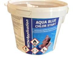 Aqua Blue Chlor Start - přípravek k rychlému zachlorování 3 kg-Rychle rozpustná chlorová chemie v podobě granulí, určená pro první zachlorování bazénu na začátku sezóny, popřípadě pro rychlou dezinfekci bazénové vody při zvýšené koncentraci, na což však mnohem lépe poslouží šok přípravek. Produkt obsahuje 55% aktivního chloru.