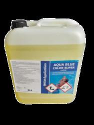 Aqua Blue CHLOR Super roztok - prostředek k trvalé dezinfekci bazénové vody 10 l-Tekutý Chlor super roztok 10 l  nahrazuje chlornan sodný určený k trvalé dezinfekci bazénové vody pomocí automatického dávkovacího zařízení. Stabilizovaný pro všechny stupně tvrdosti vody. Chlor super roztok 10 l je základní přípravkem pro údržbu bazénu.    Jedná se o koncentrovaný přípravek s obsahem kapalného chlornanu sodného.