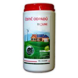 BioClean BIOLINE - ekologický přípravek na čištění potrubí 1 kg-Biologický čistič odpadů BIOLINE je jedinečný přípravek, který čistí odpadní potrubí odstraněním tukových nánosů uložených v potrubí, sifonech nebo separátorech (usazeniny tuků z kuchyně, z mýdla, vlasy, vousy apod.). Na stěnách trubek vytváří biologický povlak, který zabraňuje opětovnému ukládání tuků v potrubí, odstraňuje nepříjemné pachy. Ideální pro uživatele domácích čistíren.