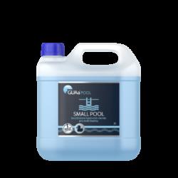 GUAa POOL SMALL POOL Bezchlórová bazénová chemie 3l-SMALL POOL je tekutý, koncentrovaný přípravek pro dezinfekci a hygienické zabezpečení vody v dětských a menších bazénech do objemu 20 m3 (s filtrací i bez filtrace). Má výrazný a dlouhodobý účinek proti mikroorganismům a řasám.