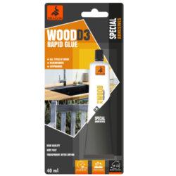 DRAGON Wood RAPID glue D3 40ml na dřevo-Vysoce kvalitní, jednosložkové lepidlo na bázi disperze polyvinylacetátu, bez organických rozpouštědel, třída odolnosti proti vodě: D3, bezbarvé po zaschnutí, vnitřní a venkovní, trvalé, silně vytvrzující, velmi rychlé.  Aplikace: určeno pro lepení dřeva, bloků a dřevotřískových desek, překližky a jiných materiálů na bázi dřeva. Pro vnitřní i venkovní použití na místech, která nejsou vystavena přímému a dlouhodobému kontaktu s vodou.