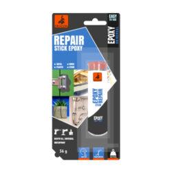DRAGON Epoxy Repair Stick 56 g univerzální opravné lepidlo-Velmi silné a rychlé univerzální lepidlo s vysokou mechanickou pevností. Určeno pro vyplňování trhlin, děr, opravy betonových povrchů, nádrží, sudů, utěsňování nádob a opravy netěsností. Po zaschnutí lze opracovat (vrtání, broušení apod.). Používá se i k připevnění háčků na stěny. Šedá barva.