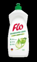 FLO přípravek na mytí nádobí  GREEN APPLE 1l-Koncentrovaný tekutý přípravek na mytí nádobí Flo Green Apple dokonale odstraňuje mastnotu a další nečistoty z nádobí.