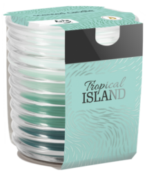 Svíčka vonná Tropical Island ve skle-Originální svíčka v moderním skle, které při hoření vydává trojrozměrný efekt. Svíčka se stane okouzlujícím doplňkem ve vašem interiéru. Tato svíčka s vůní tropického ostrova vás okamžitě přenese do léta i v tom nejchladnějším zimním dni.  Vůně: tropického ostrova Doba hoření: 28 h Hmotnost parafínu: 130 g Průměr: 8 cm Výška: 8,2 cm