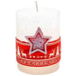 Svíčka vánoční Scandinavian hvězda červená-Kvalitní svíčka s populárním skandinávským vzorem, která navodí tu správnou vánoční atmosféru ve vašem interiéru. Svíčka s vyobrazenou hvězdou v červené barvě na přední části.  Barva: červená  Váha: 290 g Rozměry: 90x70 mm Doba hoření: 51 hodin