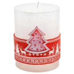 Svíčka vánoční Scandinavian stromeček červený-Kvalitní svíčka s populárním skandinávským vzorem, která navodí tu správnou vánoční atmosféru ve vašem interiéru. Svíčka s vyobrazeným stromečkem v červené barvě na přední části.   Barva: červená  Váha: 290 g Rozměry: 90x70 mm Doba hoření: 51 hodin