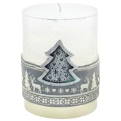 Svíčka vánoční Scandinavian stromeček stříbrný-Kvalitní svíčka s populárním skandinávským vzorem, která navodí tu správnou vánoční atmosféru ve vašem interiéru. Svíčka s vyobrazeným stromečkem ve stříbrné barvě na přední části.  Barva: stříbrná  Váha: 290 g Rozměry: 90x70 mm Doba hoření: 51 hodin