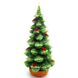 Svíčka vánoční stromeček-Kvalitní svíčka ve tvaru vánočního stromečku s mašličkami, která navodí tu správnou vánoční atmosféru ve vašem interiéru.   Barva: zelená Váha: 390 g