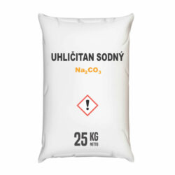 Uhličitan sodný, kalcinovaná soda 25 kg-Práškový lehký uhličitan sodný (Na2CO3) 25 kg - kalcinovaná soda, lidově rovněž prášková prací soda. Používá se v průmyslu pro výrobu skla, papíru a v chemických syntézách, tak i v domácnosti. Změkčuje vodu, neutralizuje pachy a pohlcuje vlhkost, odstraňuje nejúpornější skvrny (mazadla, vosk, líčidla, saze, víno, kávu atd.). Zvyšuje prací účinnost.  Uhličitan sodný je dostupný v balení: 4 kg 25 kg  300 kg 1000 kg