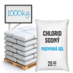 Posypová sůl - chlorid sodný 1000 kg-Posypová sůl - chlorid sodný. Používání kamenné soli je nejrozšířenější způsob údržby komunikací, chodníků a náměstí v zimním období. Sůl je balená v 25kg pytlích po 40 ks na paletě. Námi nabízená sůl obsahuje protihrudkující látku.  Posypová sůl - chlorid sodný je dostupný v baleních: 5 kg 10 kg 25 kg 300 kg 1000 kg