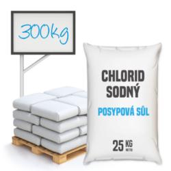 Posypová sůl - chlorid sodný 300 kg-Posypová sůl - chlorid sodný. Používání kamenné soli je nejrozšířenější způsob údržby komunikací, chodníků a náměstí v zimním období. Sůl je balená v 25kg pytlích po 40 ks na paletě. Námi nabízená sůl obsahuje protihrudkující látku.  Posypová sůl - chlorid sodný je dostupný v baleních: 5 kg 10 kg 25 kg 300 kg 1000 kg