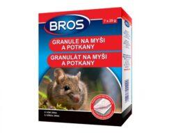 BROS granule na myši a potkany 7 x 20 g-Granule na myši a potkany je možné používat jak ve vnitřních prostorách, tak v okolí budov. Díky přiměřené tvrdosti granulí a speciálním příchutím (vůně kukuřice) je výrobek pro hlodavce velmi atraktivní. Obsahuje látku, která brání náhodnému požití lidmi a domácími zvířaty.