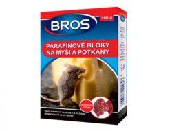 BROS parafínové bloky na myši a potkany100 g-Voskové bločky na myši a potkany jsou mimořádně odolné vůči vodě a plísním. Jsou vhodné i pro použití v prostředí s vysokou vlhkostí, například ve sklepích či na otevřeném prostranství. Obsahuje látku, která brání náhodnému požití lidmi a domácími zvířaty.