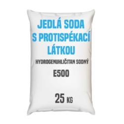 Distripark Jedlá soda s protispékací látkou, E500 (ii) 25 kg-Jedlá soda E500 (ii) s protispékací látkou 25 kg - jinými slovy hydrogenuhličitan sodný (soda bicarbona) je pomocná látka přidávána do potravin označená symbolem [E500 (ii)]. Vyskytuje se ve formě bílého krystalického prášku. Používá se v mnoha odvětvích potravinářského průmyslu, léčitelství a jako ekologický čisticí prostředek v domácnostech (je součástí prášku na pečení a tablet používaných v léčbě překyselení žaludku). Používá se také v pěnových hasicích přístrojích (jako pěnicí složka).  Hydrogenuhličitan sodný dostupný v balení: 5 kg kbelík 25 kg pytel 300 kg polopaleta 1 000 kg paleta