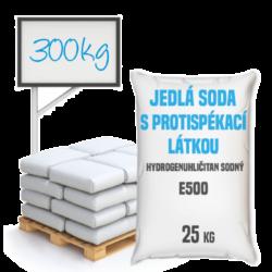Jedlá soda s protispékací látkou, E500 (ii) 300 kg- Jedlá soda E500 (ii) s protispékací látkou 25 kg - jinými slovy hydrogenuhličitan sodný (soda bicarbona) je pomocná látka přidávána do potravin označená symbolem [E500 (ii)]. Vyskytuje se ve formě bílého krystalického prášku. Používá se v mnoha odvětvích potravinářského průmyslu, léčitelství a jako ekologický čisticí prostředek v domácnostech (je součástí prášku na pečení a tablet používaných v léčbě překyselení žaludku). Používá se také v pěnových hasicích přístrojích (jako pěnicí složka).  Hydrogenuhličitan sodný dostupný v balení:      25 kg pytel     300 kg polopaleta     1 000 kg paleta