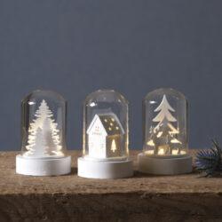 Sada 3 světelných dekorací Kupol-Elegantní a velmi efektní svícny, které navodí sváteční atmosféru. Ideální pro milovníky rustikálního nebo skandinávského stylu.