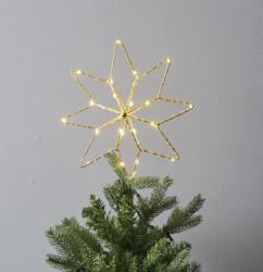 Zlatá hvězda LED Topsy-Působivá dekorace ve tvaru zlaté hvězdy na vánoční stromeček s LED osvětlením. Dekorace využívá technologii DEW DROP - efekt kapky rosy. Mikro LED DEW DROP poskytují spoustu světla s nízkou spotřebou energie. Krásně teplá barva světla. Provoz na baterie s funkcí časovače. Dekorace přizpůsobená vnějším podmínkám: IP44.