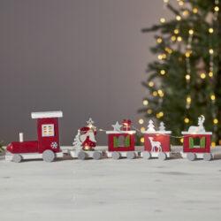 Dekorace Loke-Sváteční svícen ve tvaru vláčku, který byl vyrobený z překližky. Krásná dekorace vytvoří v interiéru tu pravou vánoční atmosféru. Velmi oblíbený hlavně u dětí.