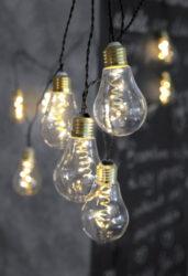 Světelný řetěz Glow-Světelný řetěz s 10 LED lampami o průměru 6 cm ve skleněných objímkách. Jedná se o HIT v Evropě! WOW efekt - skleněná žárovka na krouceném kabelu. Ideální jemné světlo, které navodí tu správnou atmosféru nejen po celou zimní a sváteční sezónu, ale je vhodná i na celoroční použití. Vyjímat se bude i při teplé letní noci.  Barva světla: TEPLÁ BÍLÁ. Vnitřní i venkovní použití: IP44 .