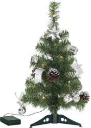 Stromeček Decorage s ozdobami a osvětlením, 45 cm-Velmi vkusně vyzdobený vánoční strom s LED osvětlením a napájením z baterie. Výška 45 cm. Jedná se o hotový vánoční strom, který bude hezky vypadat na firemních stolech, recepcích, v kancelářích nebo přesně dle potřeby i v domácím prostředí.