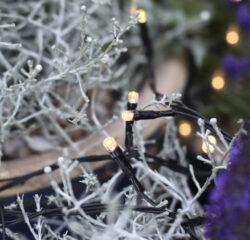 Světelný závěs Dura String bílý, 120 LED, 100 cm x 100 cm, na baterie, venkovní-Kvalitní světelný závěs s LED, napájený baterií s funkcí časovače. Pěkná teplá světlá barva. Přizpůsobeno vnějším podmínkám: IP44.