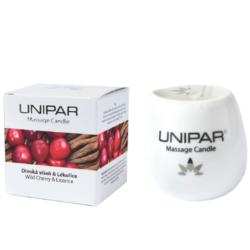 Masážní vonná svíčka Cherry/Licorice Ceramic Unipar 85 ml-Masážní svíčka v keramické nádobce s vůní divoké višně a lékořice je ideální použít při přetížení a celkové vyčerpanosti organismu. Zlepšuje kondici a pomáhá s prohloubením relaxace.   Základem svíčky je směs kokosového oleje a bambuckého másla, doplněná o vitamín E