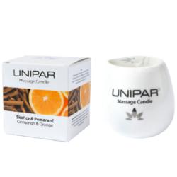 Masážní svíčka Cinnamon/Orange Ceramic Unipar 85 ml-Masážní svíčka v keramické nádobce s afrodiziakalní vůní pomeranče a skořice je směs kokosového oleje a bambuckého másla, doplněná o vitamín E. Zahřáté ingredience působí jemně, ale intenzivně na vaše tělo a příjemná teplota se udržuje po celou dobu masáže.