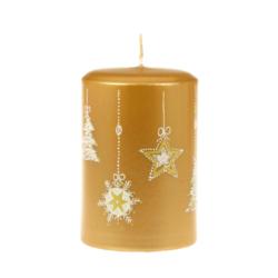 Svíčka Moments Gold 70x105 Unipar-Tento design zlaté svíčky má své kouzlo v jednoduchosti a jemnosti vánočních dekorů, které jsou pocukrované bílým třpytem.  Barva: zlatá s vánočním dekorem Velikost: středně velká (70x150 mm) Doba hoření: 48 hodin Tvar: válec  V nabídce i svíčka Moments Gold 60x80 mm s dobou hoření 32 hodin.