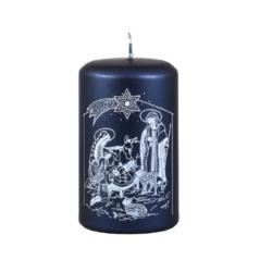 Svíčka Gloria Blue - Vánoční 60x100 Unipar-Královsky modrá vánoční svíčka s tradičním vzorem betlému s detailně zpracovanými postavami, která navodí tu pravou vánoční atmosféru. Dlouhá doba hoření s čistým a jasným plamenem.  Svíčka je dárkově zabalena do celofánu.  Barva: modrá metalíza Velikost: střední (60x100 mm) Doba hoření: 40 hodin Tvar: válec