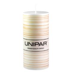 Svíčka Infinity Brown 70x150 Unipar-Ručně vyrobená svíčka vás okouzlí svou originalitou a jedinečností. Jemně hnědé tóny v kombinaci s bílou barvou a ručně strukturovaným povrchem je ideální ozdobou každého interiéru.  Na svíčce je papírový proužek s logem, který je nutné před zapálením svíčky odstranit.  Barva: hnědo-bílá Velikost: středně velká (70x150 mm) Doba hoření: 73 hodin Tvar: válec